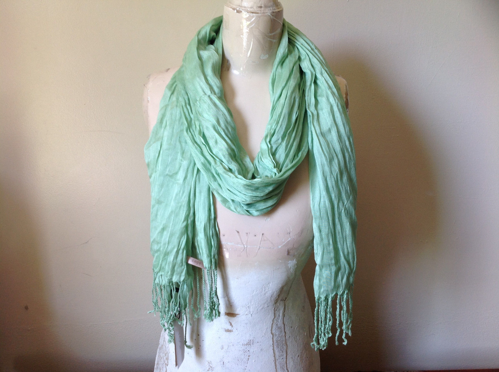 Mint Silk Blend Tasseled Scrunched Style Scarf by Look TAG ATTACHED