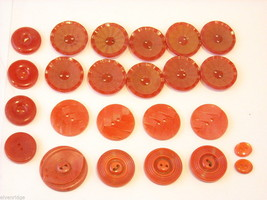 Mixed lot of vintage buttons all reds one looks like CBS logo