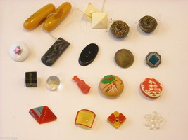 Mixed lot of vintage buttons in unusual shapes violin shoes pyramids cube