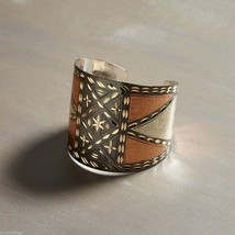 Mixed metal geometric design Bangle Bracelet