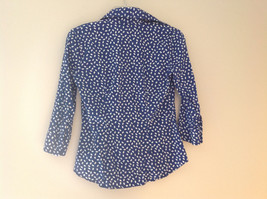 Navy White Oval Spots Shirt Princess Seams New York and Company Size XS image 6