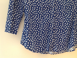 Navy White Oval Spots Shirt Princess Seams New York and Company Size XS image 4