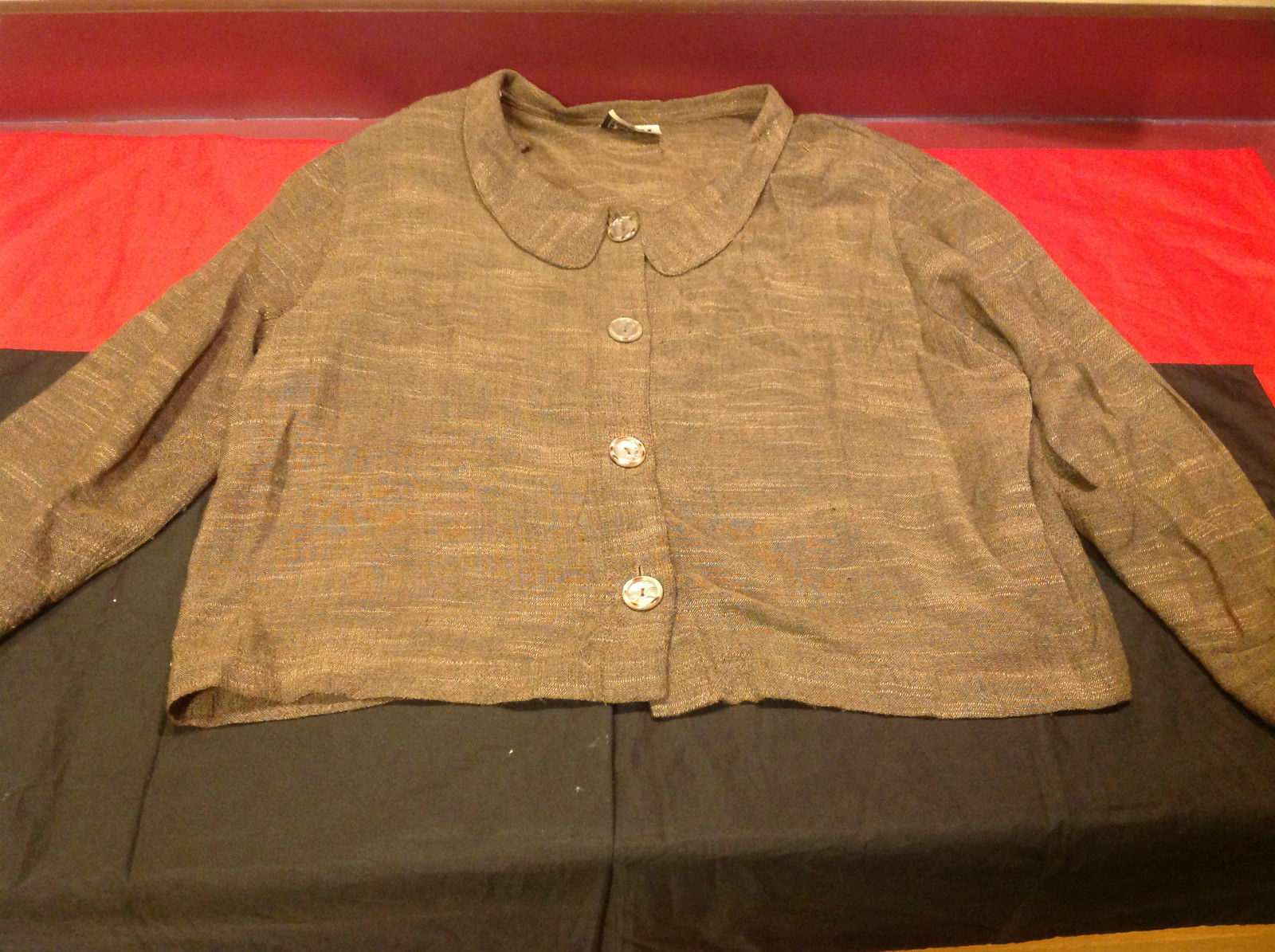 Moray California Brown/Light Brown Ladies 4 Button Closure Blouse Size Medium