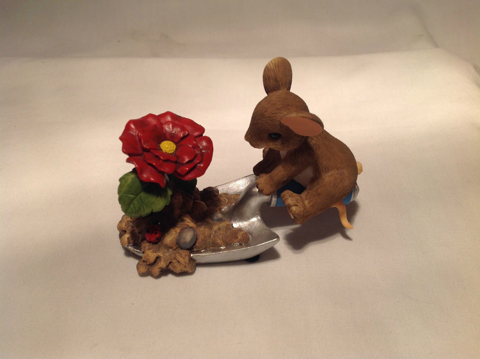 Mouse Sitting on Shovel Charming Tails Figurine Bloom Wherever You're Planted