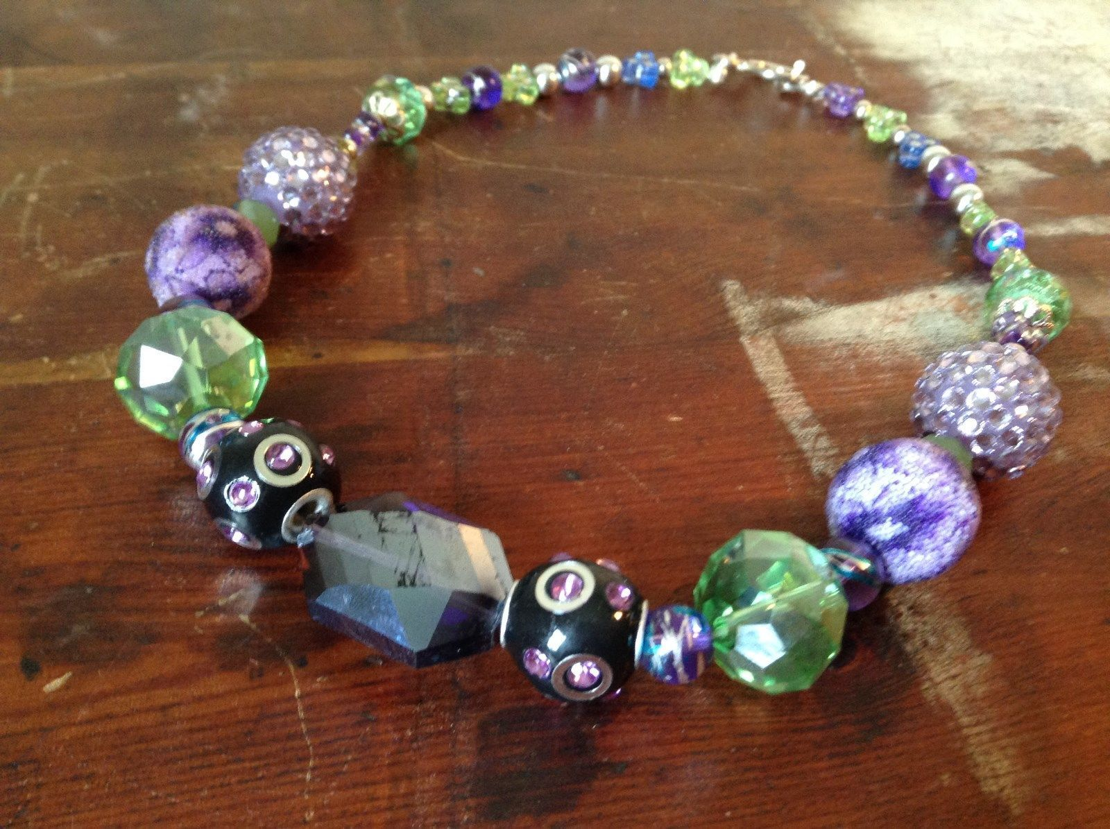 Multi Bead Green Purple Necklace Crystals Different Size Beads 17 Inches Long