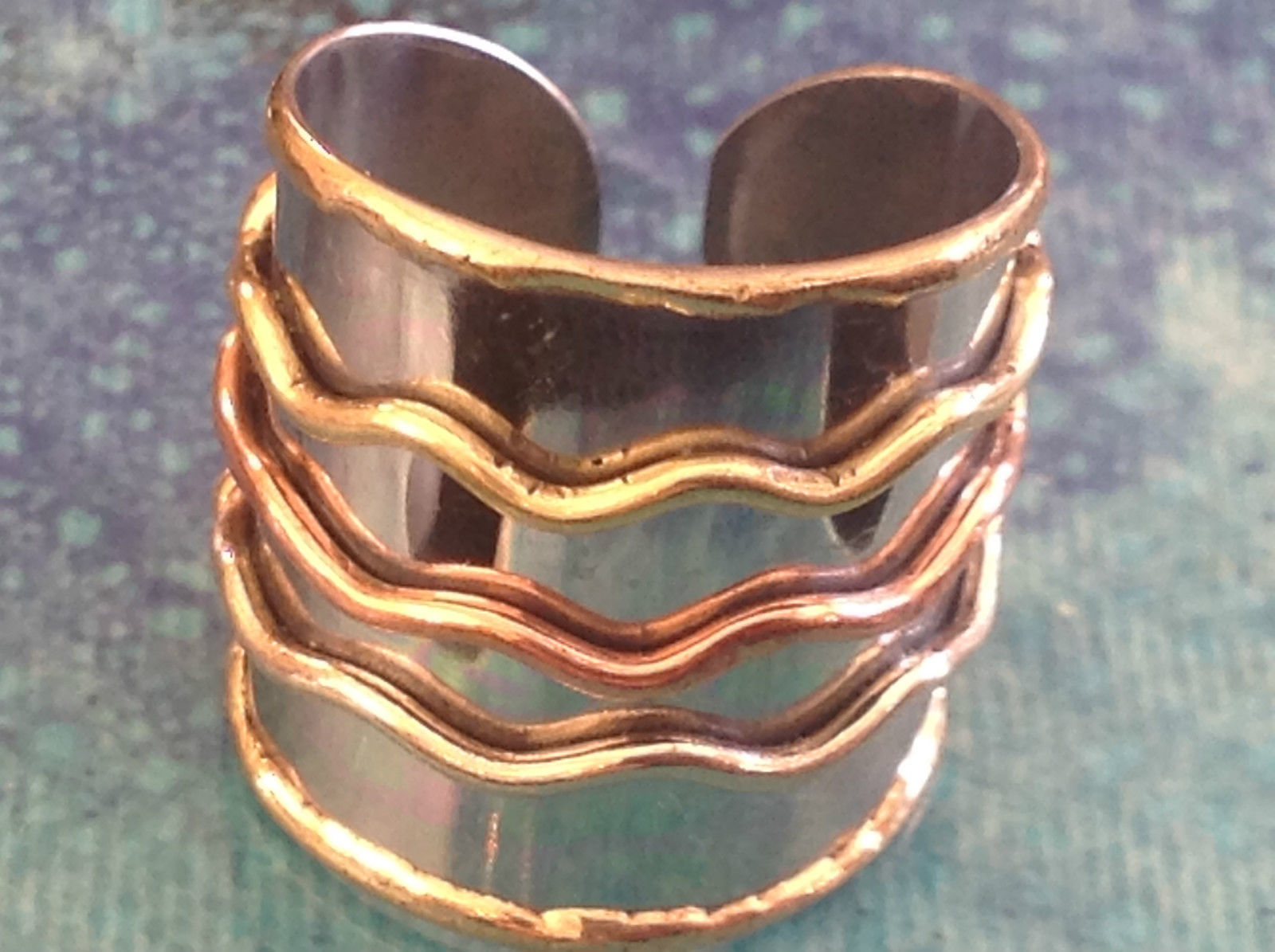 Multi Metal Tricolor Flexible Size Open Back Wide Statement Ring Size 7 Average