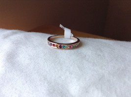 Multi Color CZ Stones Rose Gold Plated Ring Size 7.25 and 6.5 Sold Separately