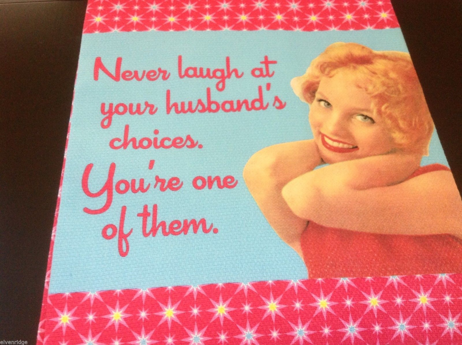 Multi color Cotton silk screen kitchen Towel you're husband's choice don't laugh
