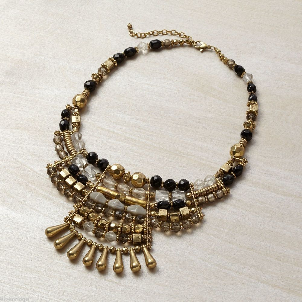 Multi metallic finish grandeur statement bib necklace