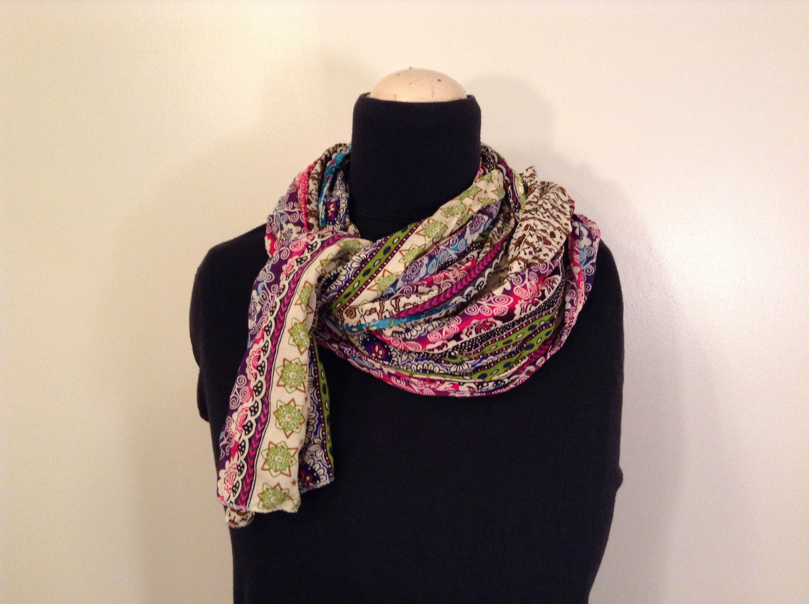 Multicolored Abstract Scarf 100 Percent Viscose Colorful