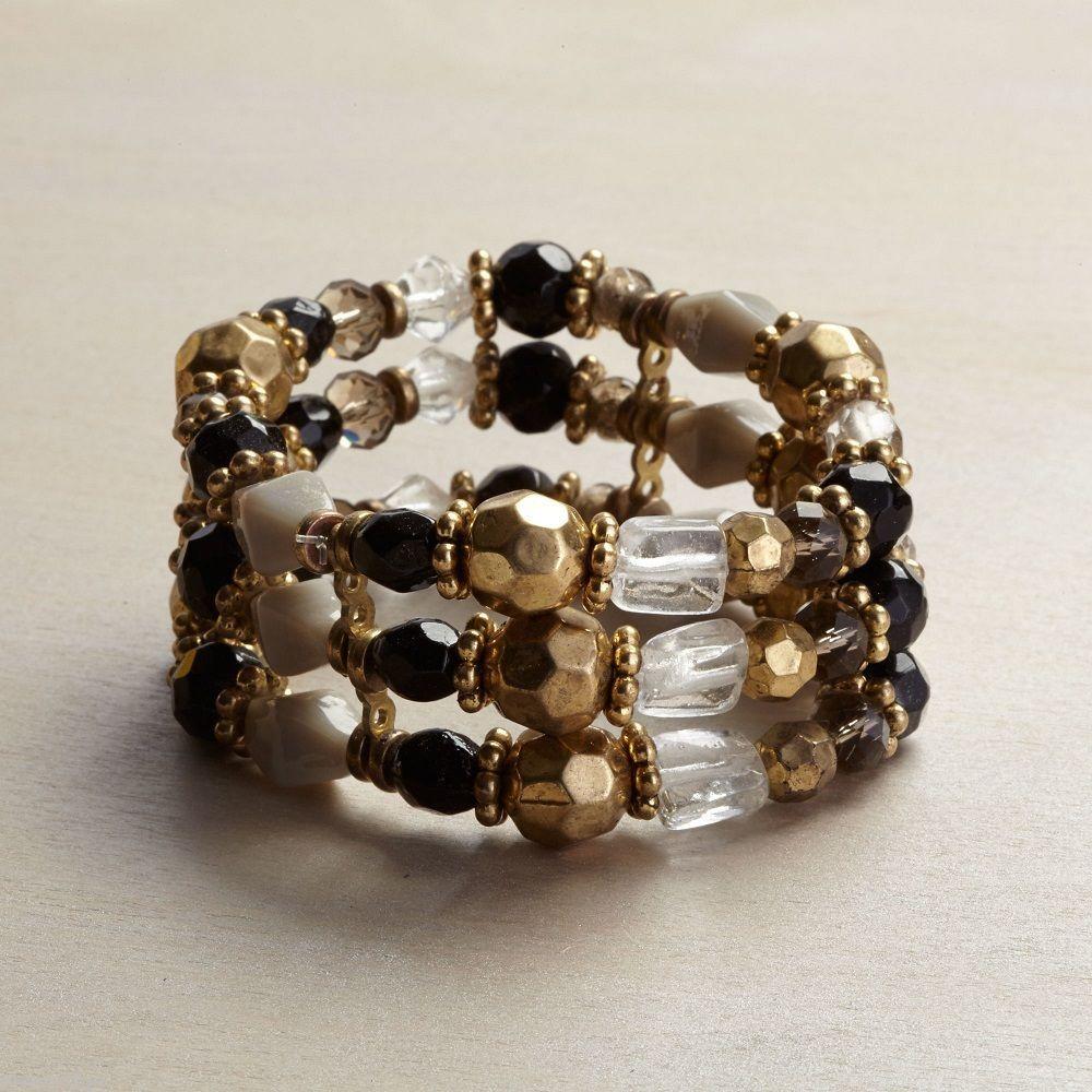 Multi metallic finish  multi strand stretch statement bracelet
