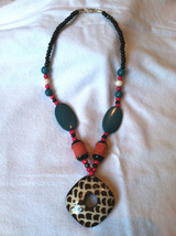 Multicolored Beaded Necklace with Giraffe Pattern Large Pendant