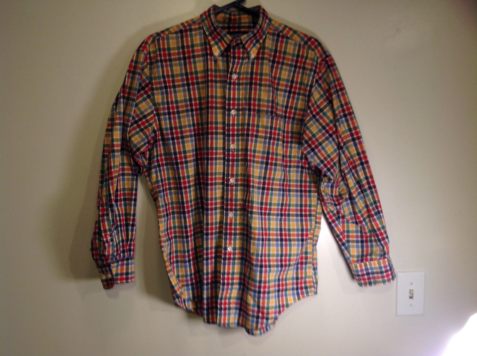 Multicolored Checkered Long Sleeve Button Up Shirt Lands End Size Medium Reg