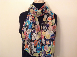 Multicolored Buttons Pattern Scarf 100 Percent Polyester NEW