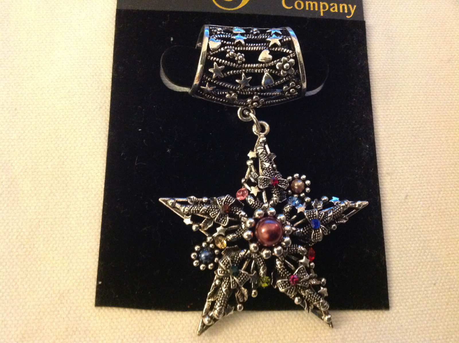 Multicolored Silver Tone Star Shaped Scarf Pendant  Star 2 Inches Wide