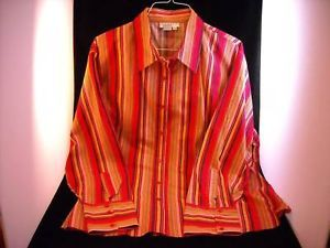 Multicolored Striped Ninety Woman Button Down Size 3X