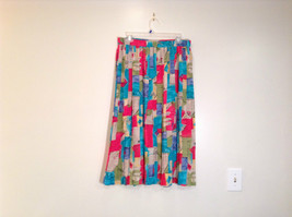 Multicolored Patterned Alfred Dunner Skirt Size 18W Elastic Waist Pleated