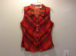 Multicolored Plaid Sleeveless Collared Button Down Shirt Size Large Selene Sport