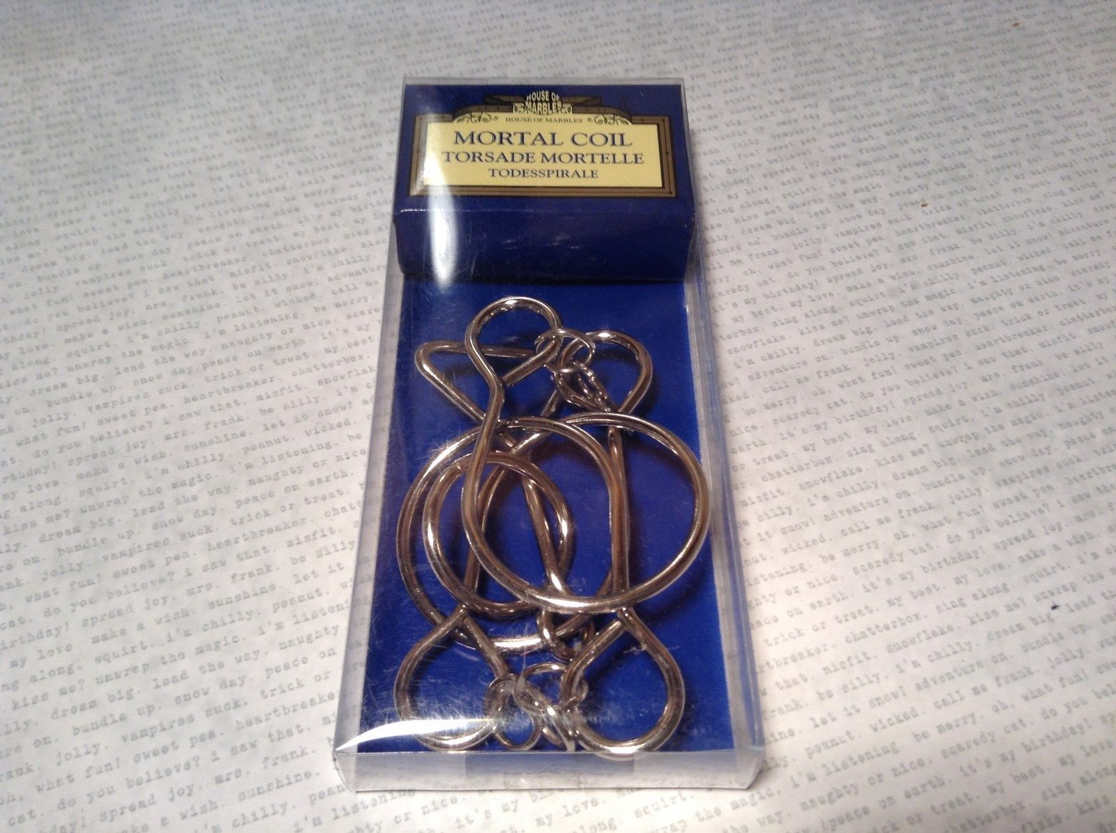 NEW House of Marbles Mortal Coil Metal Puzzle Remove The Ring