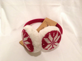 NEW Red White Ear Muffs Warmers Knit Faux Fur Inside Snowflake Design One Size