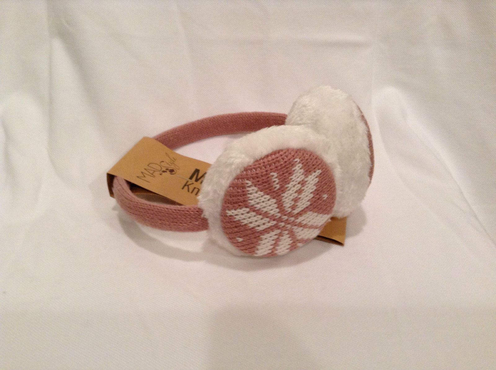 NEW Pink White Ear Muffs Warmers Knit Faux Fur Inside Snowflake Design One Size