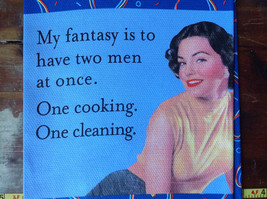 My Fantasy 50s Woman Blue Heart Printed Dish Towel Fiddlers Elbow Silk Printed