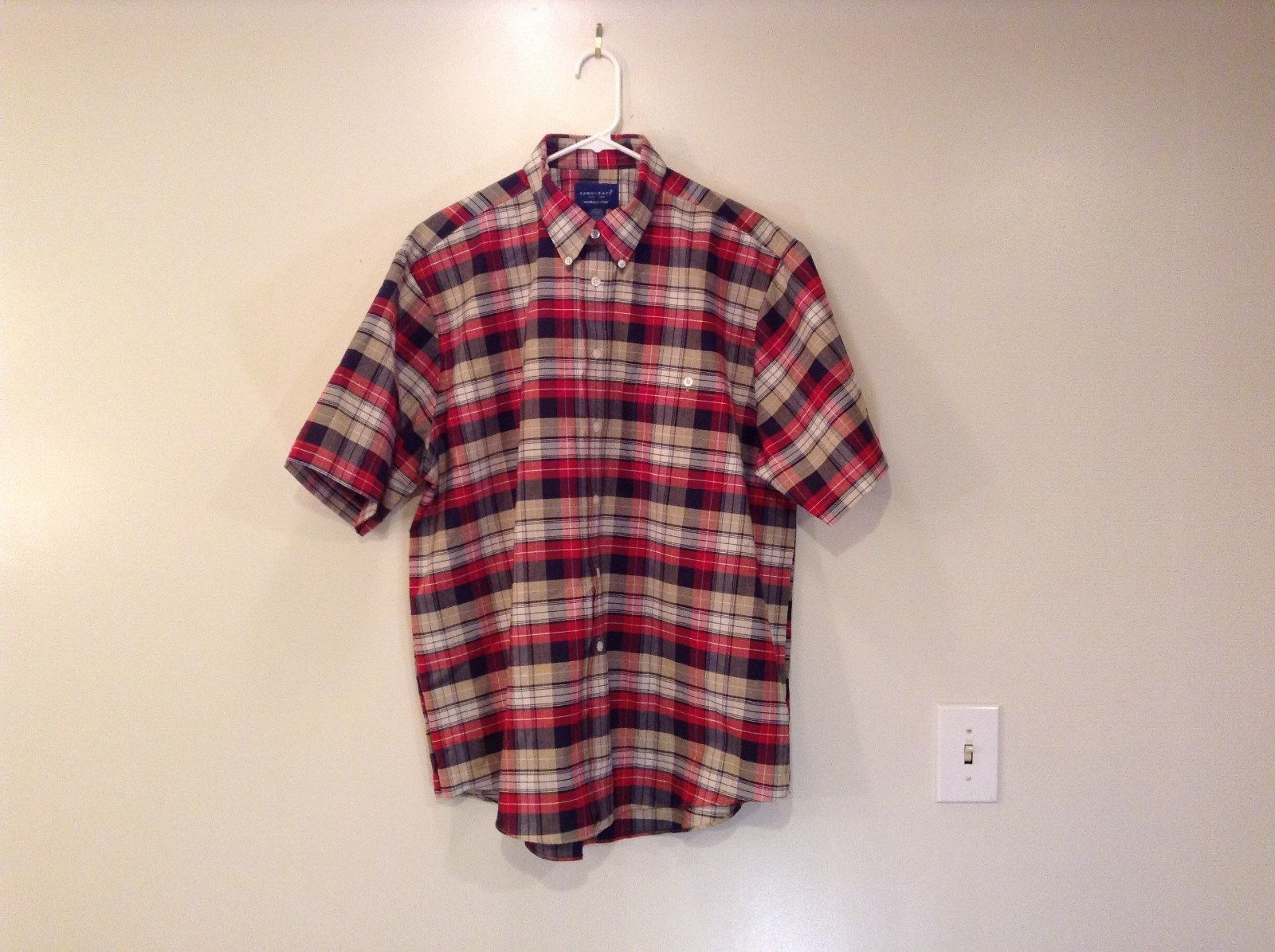 NEW Short Sleeve Towncraft Plaid Red Navy Blue White Beige Shirt Size Large