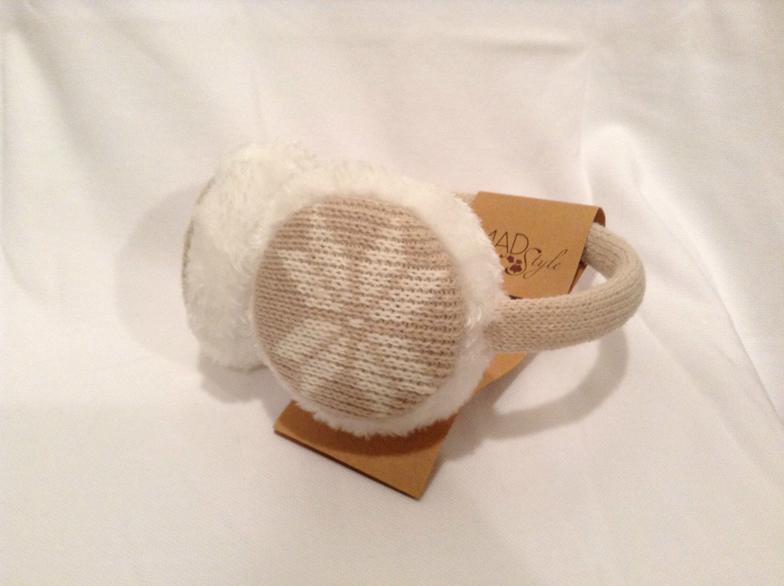 NEW Tan White Ear Muffs Warmers Knit Faux Fur Inside Snowflake Design One Size