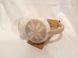 NEW Tan White Ear Muffs Warmers Knit Faux Fur Inside Snowflake Design One Size image 1