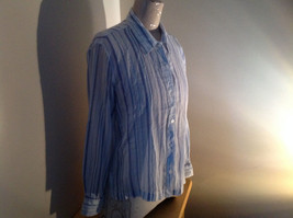 Light Blue Striped Button Up Long Sleeve Shirt by Erika Made in Nepal Size M image 2