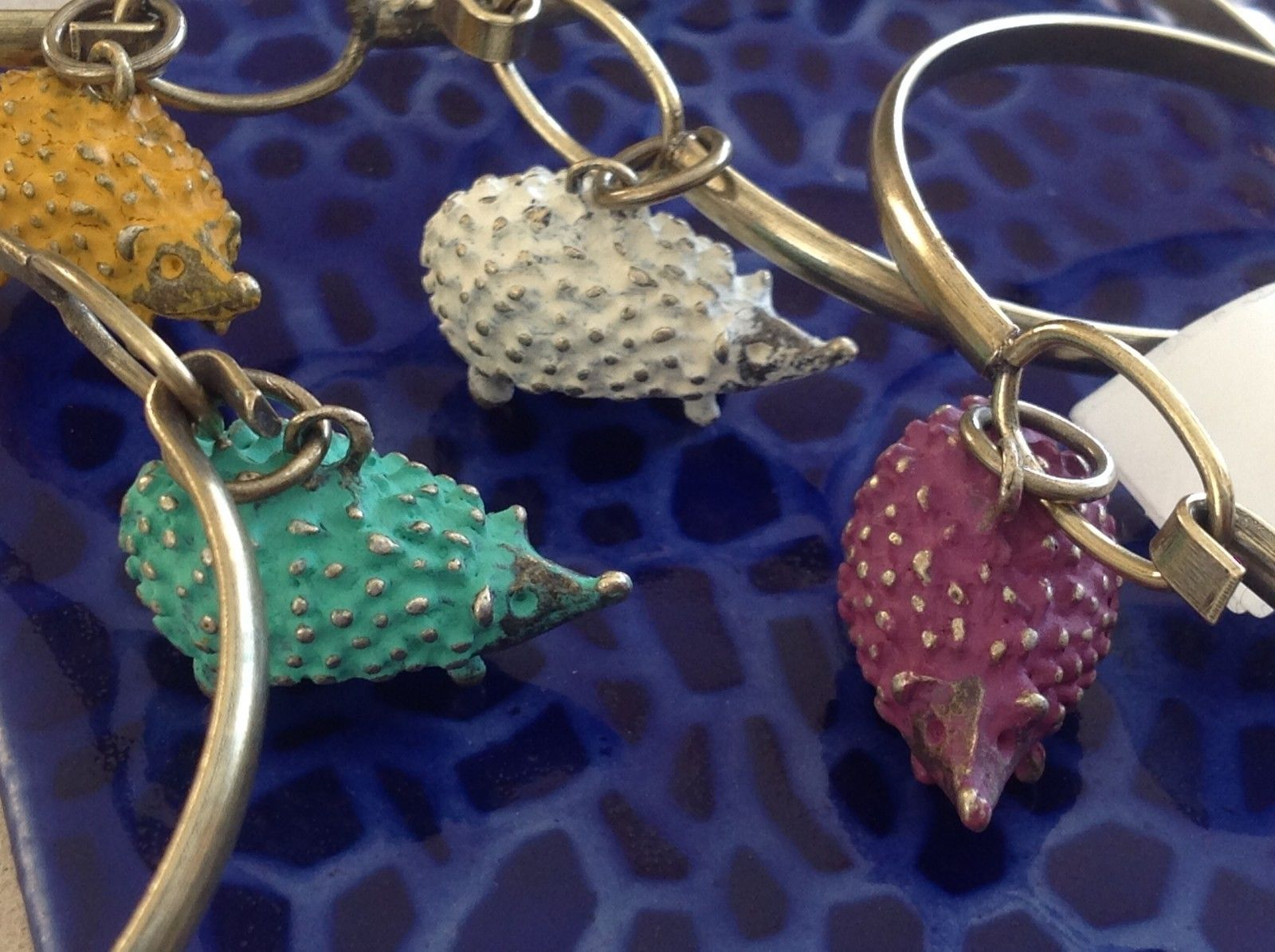 NEW bangle bracelet w Hedgehog Charm choice of color USA made