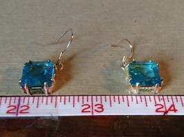 Light Blue Square Crystal Dangling Earrings Set in 925 Sterling Silver image 5