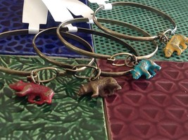 NEW bangle bracelet w Bear Charm choice of color USA made