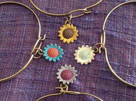 NEW bangle bracelet w Sunflower Charm choice of color USA made