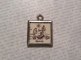 Nativity Charm Present Tie On Versatile Reversible Tag Metal Glass Tag image 1