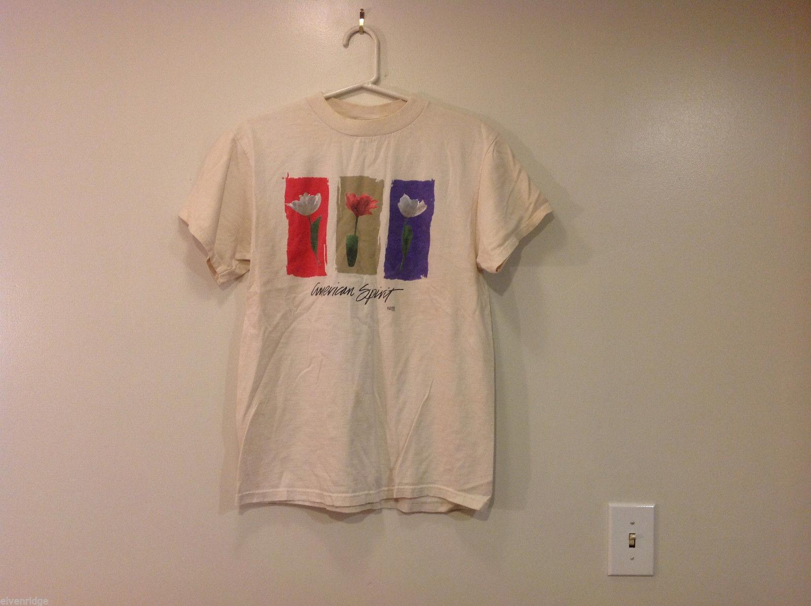 Nature's Threads White American Spirit 100% Cotton Tree Flowers T-shirt, Size M