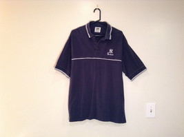 NY Yankees Dark Blue w Gray Trim Lee Sport 100 Percent Cotton Polo Shirt Size XL