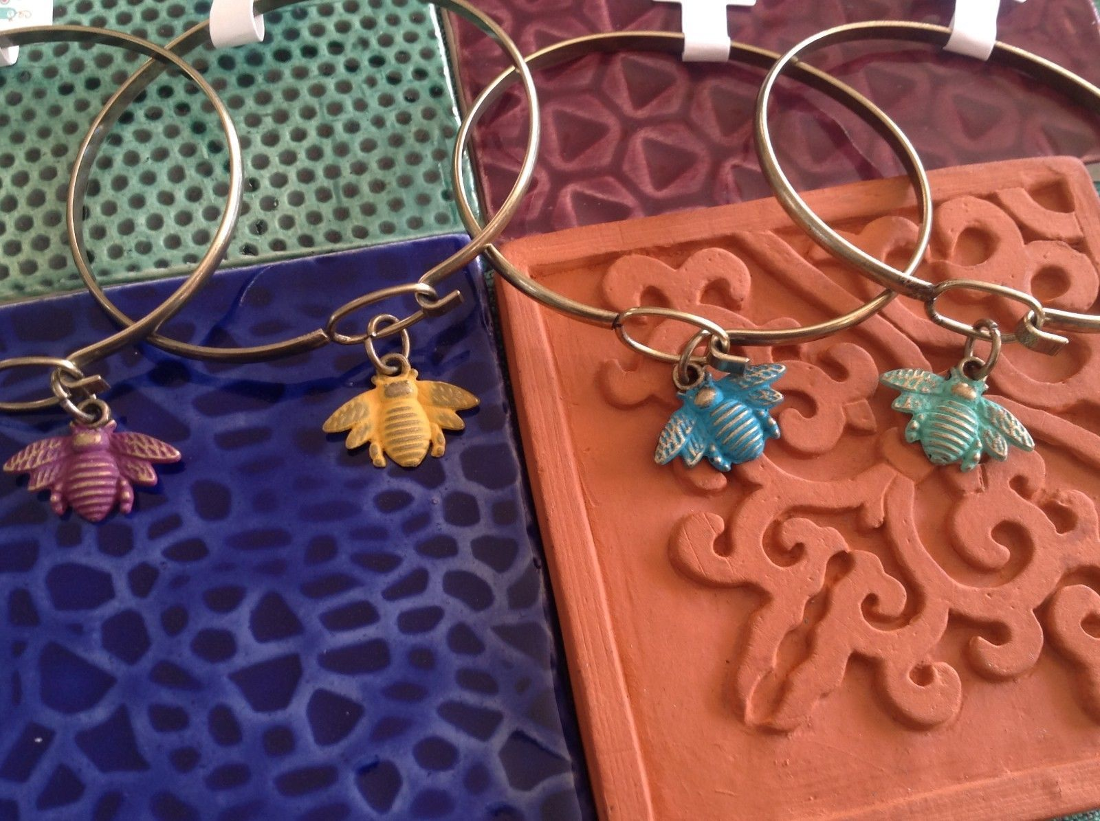 NEW bangle bracelet w Honey Bee Charm choice of color USA made
