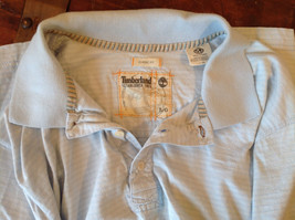 Light Blue with Stripes Short Sleeve Collared Timberland Casual Shirt Size L image 8