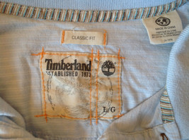 Light Blue with Stripes Short Sleeve Collared Timberland Casual Shirt Size L image 7