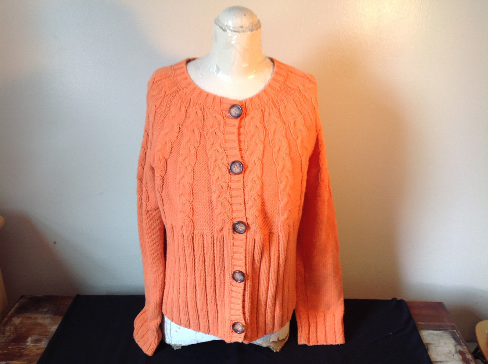 Nautica Carrot Orange Button Down Open Front Knitted Design Sweater Size Large