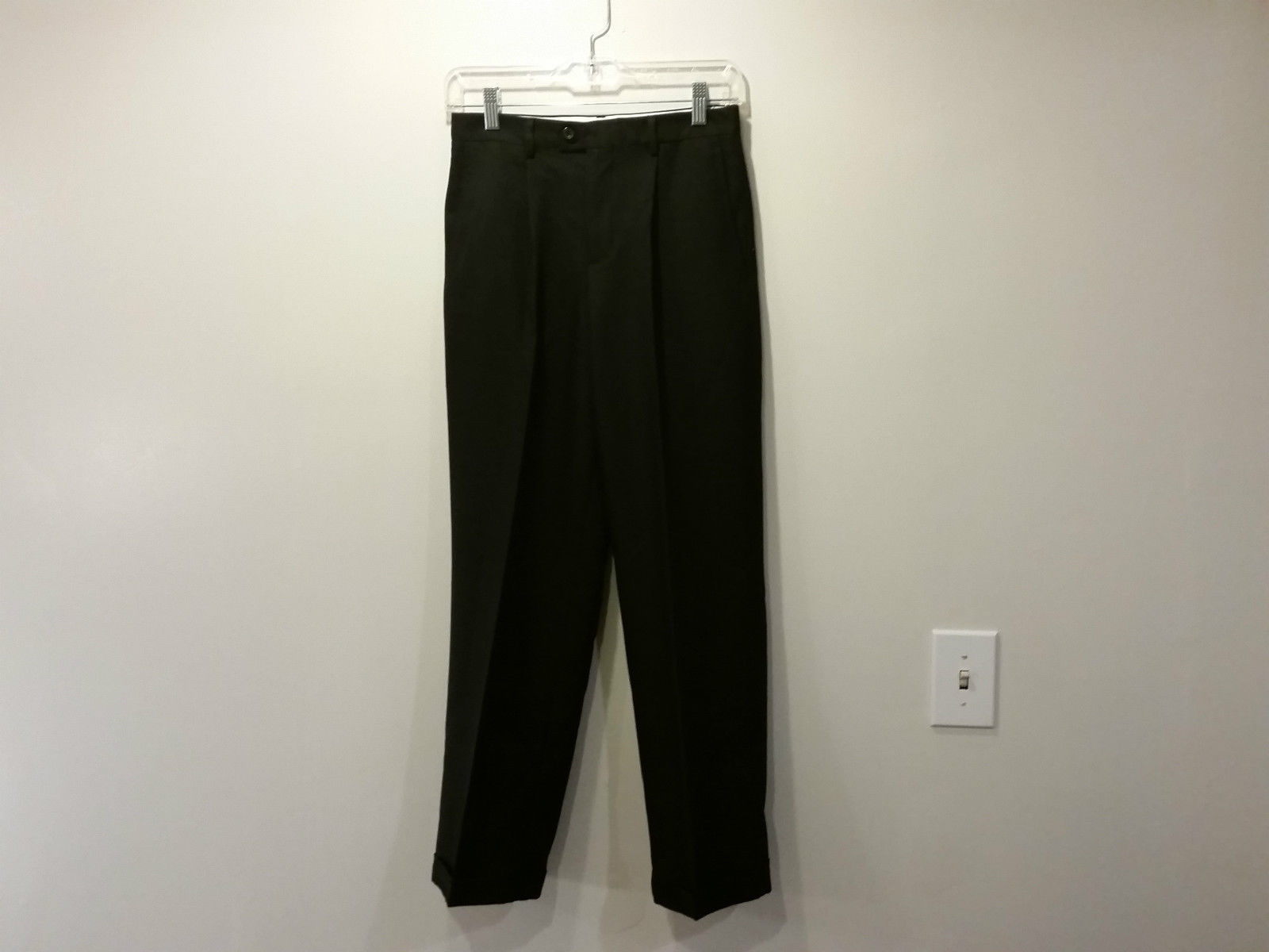 Nautica Black Pleated Front Dress Pants Side Pockets Back Pockets Size 14 Reg