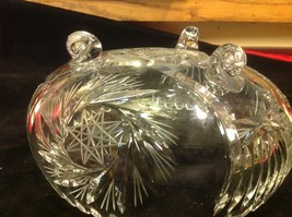 American Brilliant cut crystal glass medium three foot round bowl vintage estate image 4