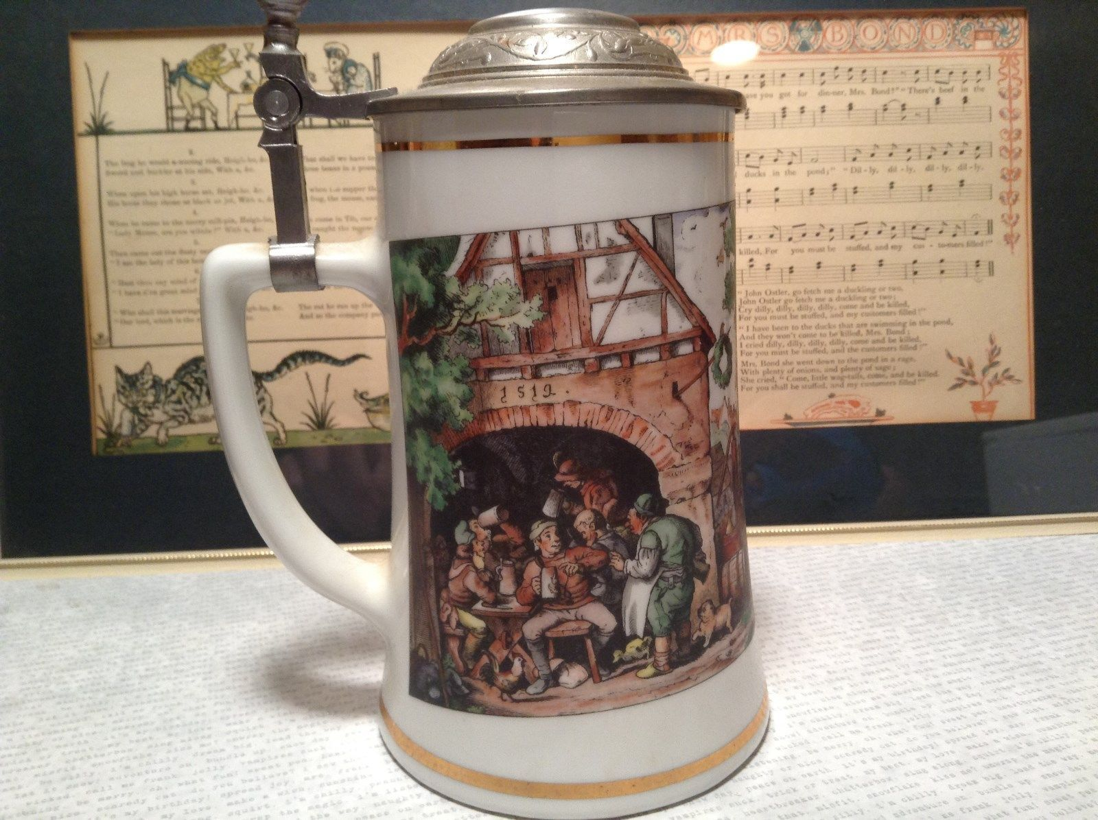 Porcelain German Stein with Metal Lid Party Scene Painted on Front