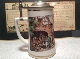Porcelain German Stein with Metal Lid Party Scene Painted on Front image 1