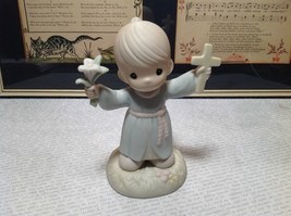 Porcelain Figurine Hallelujah for the Cross Boy Holding Cross Precious M... - $39.99