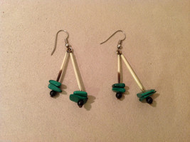 Porcupine Quill Malachite and Onyx  hand made dangle earrings image 1