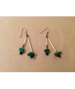 Porcupine Quill Malachite and Onyx  hand made dangle earrings - $31.18