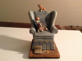 Cute Cats Danbury Porcelain Figurine of Kittens Playing Sitting on Armchair