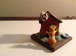 Porcelain Kittens Playing on Doghouse Figurine Display Piece - $35.63